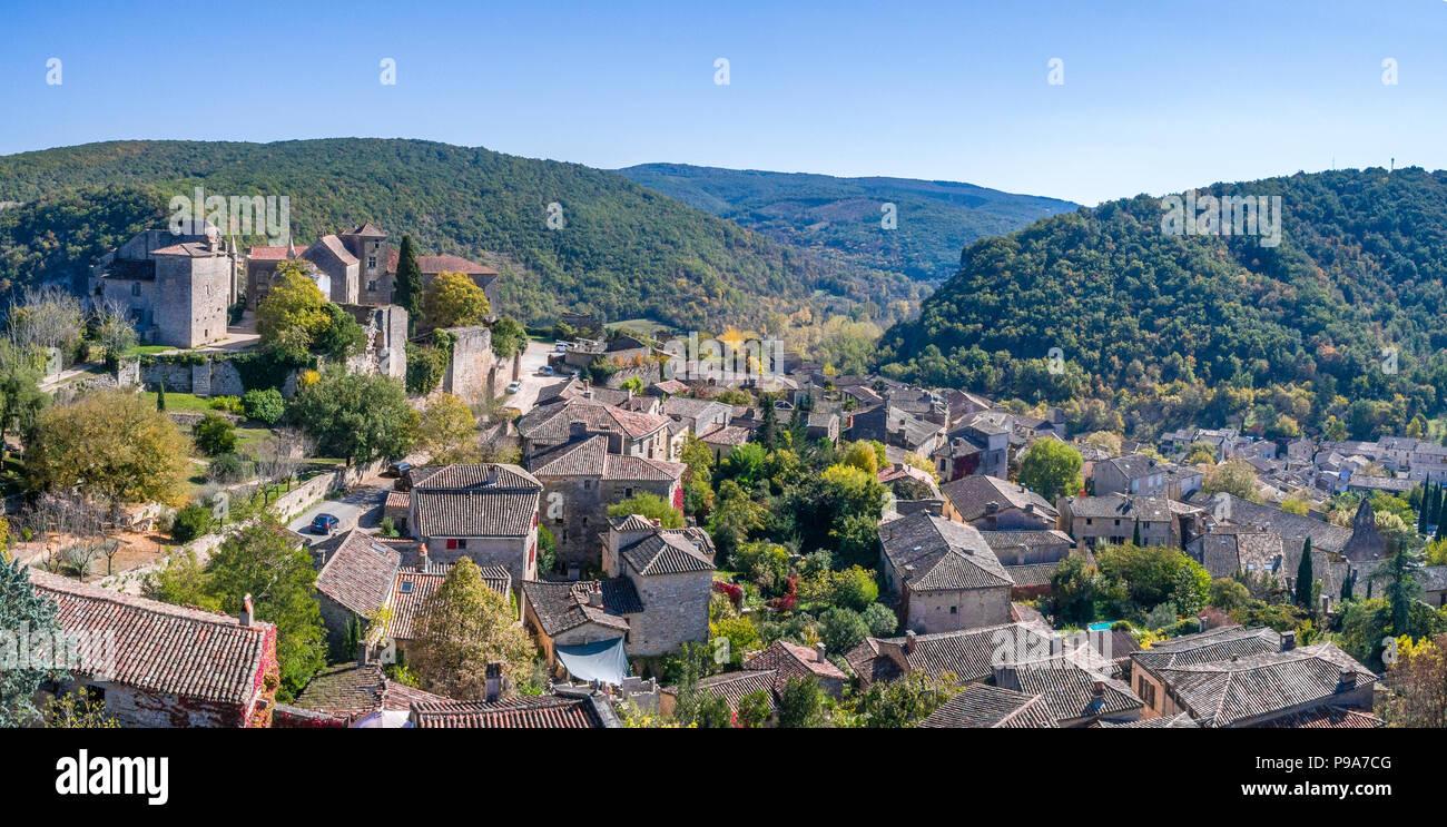 La France, Tarn et Garonne, Quercy, Bruniquel, étiqueté Les Plus Beaux Villages de France (Les Plus Beaux Villages de France), village construit sur un roc Photo Stock