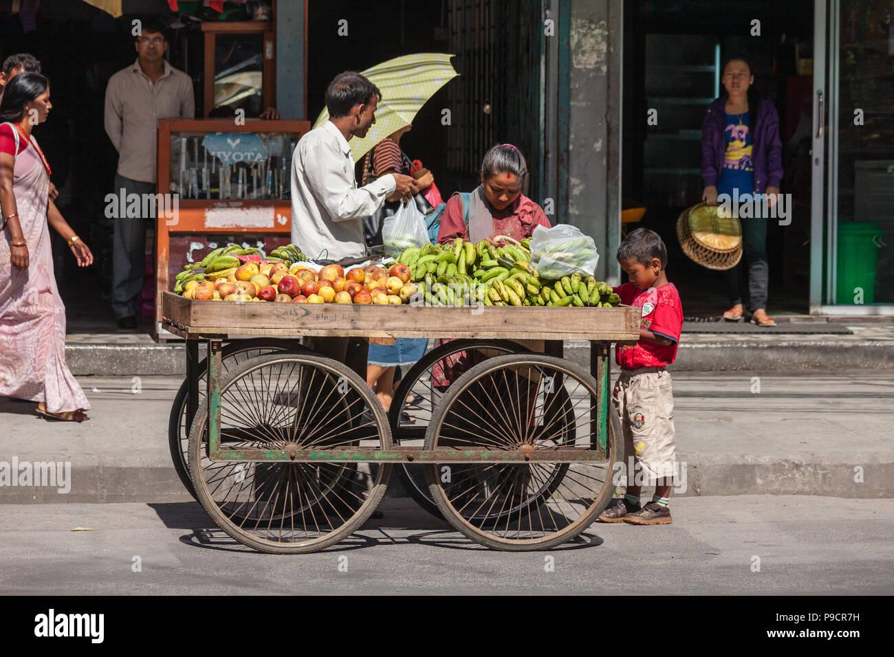 Vendeur de fruits dans la région de Pokhara, Népal Photo Stock