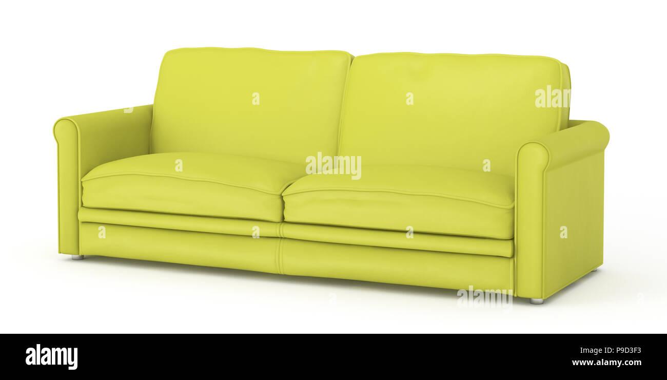 Canapé cuir jaune isolé sur fond blanc chemin de détourage 3d render photo