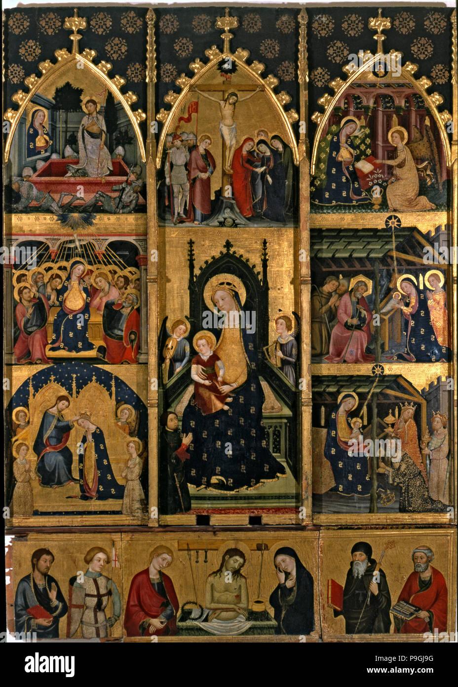Retable de la Vierge de l'Abella de la Conca. Tempera sur bois, de l'église de Sant Esteve d… Banque D'Images