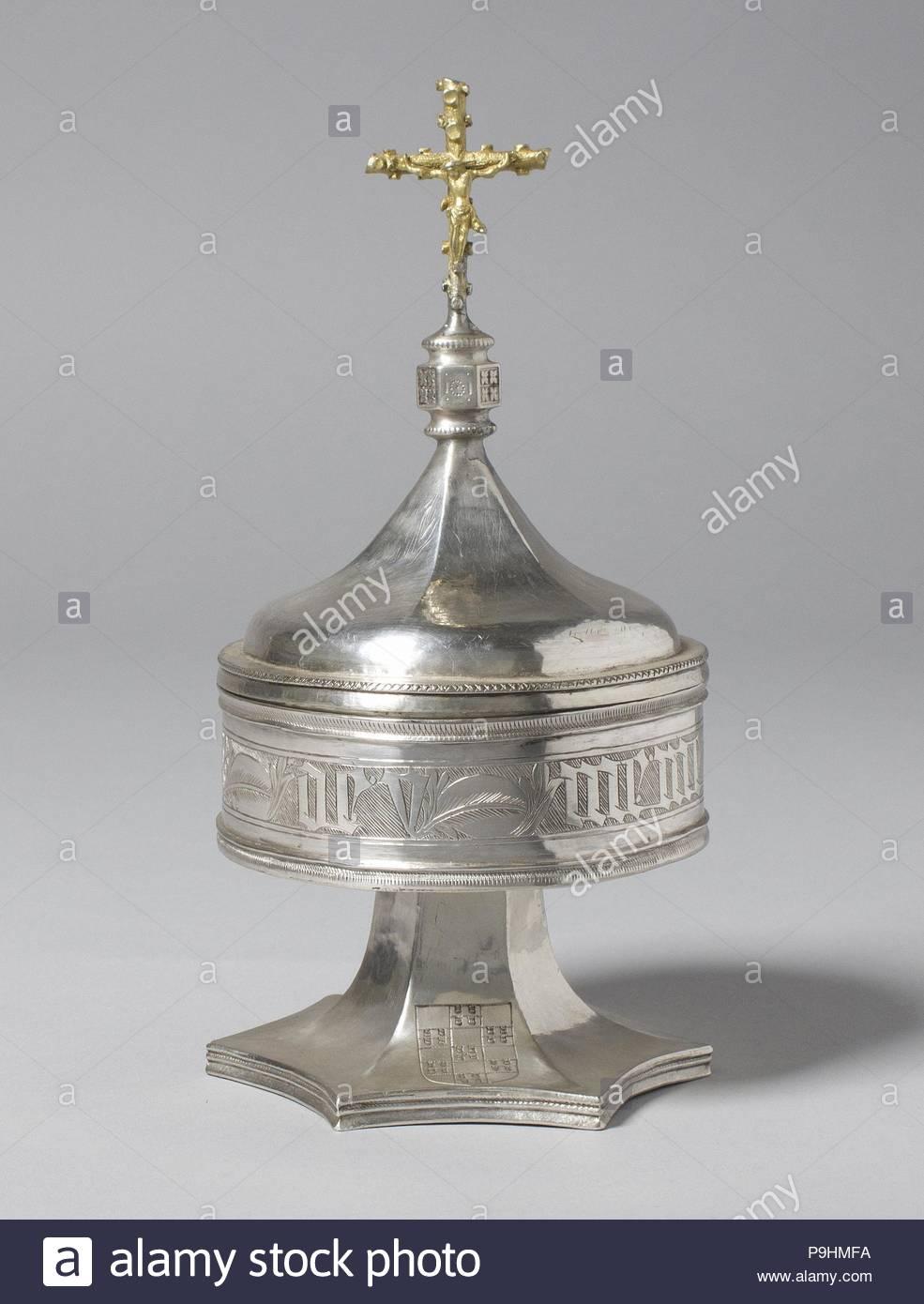 super popular e442a 36a23 Pyx, fin du 15e siècle, l espagnol, de l argent, en partie doré, Total   H    7 1 2 x diam. 3 5 8 in. (19,1 x 9,2 cm), Metalwork-Silver.