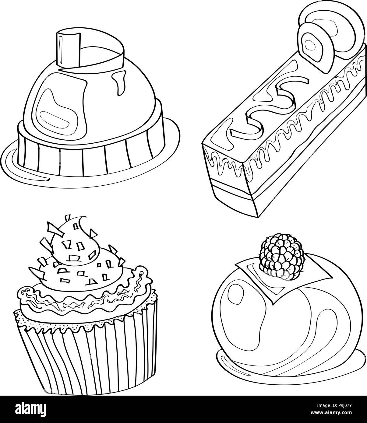 Livre De Coloriage Coloriage Gateau Sucre Boulangerie Motif Set Cafe Image Vectorielle Stock Alamy