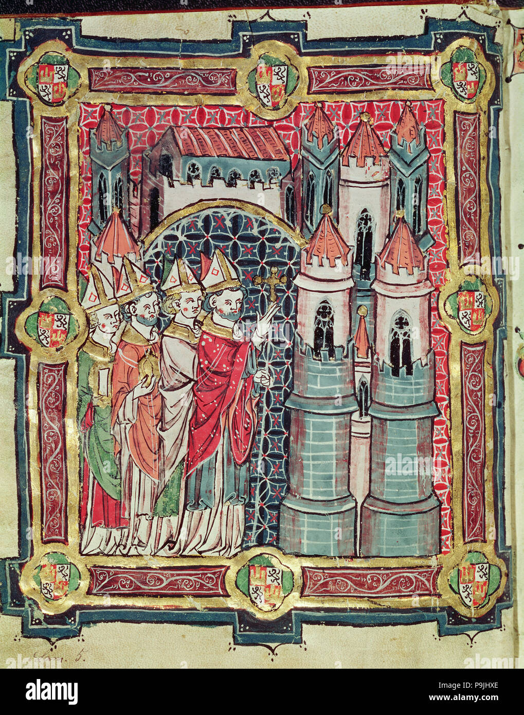 Bénédiction de l'évêque d'un diocèse, miniature dans le 'Livre de testaments' 13ème siècle. Banque D'Images