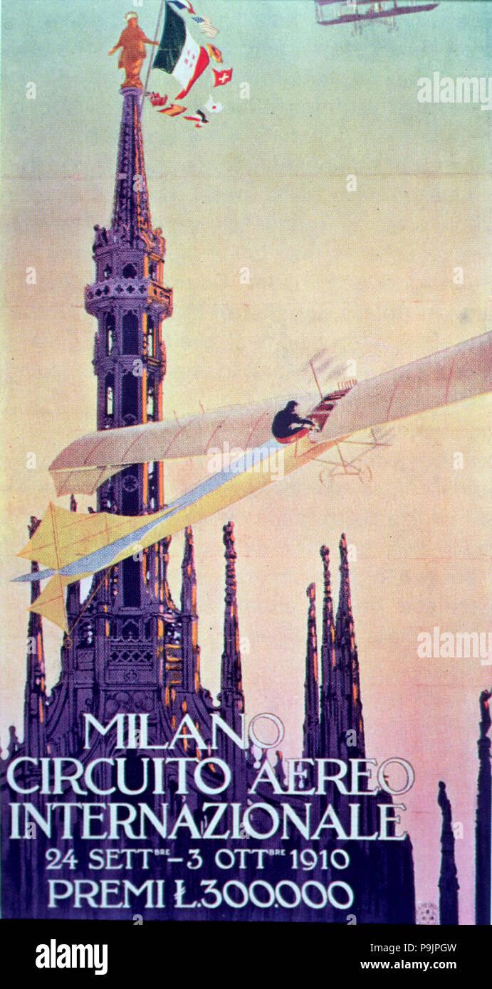 Circuito Aereo Internazionale de Milan', 24 septembre au 3 octobre 1910, l'aéronef est une fourmi… Banque D'Images