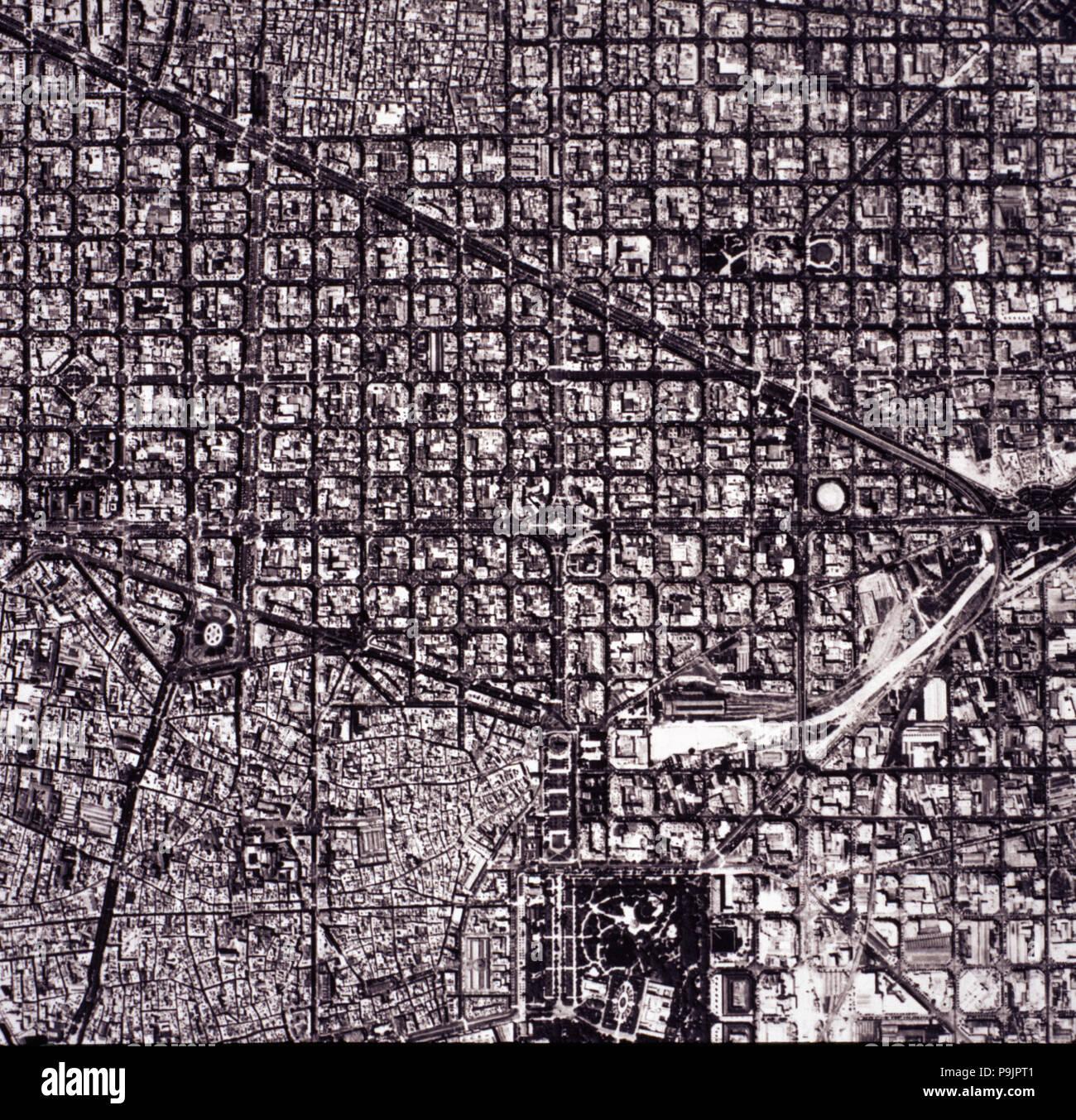 Carte Eixample Barcelone.Vue Aerienne De L Eixample Connu Comme Le Plan Cerd Xe1 De