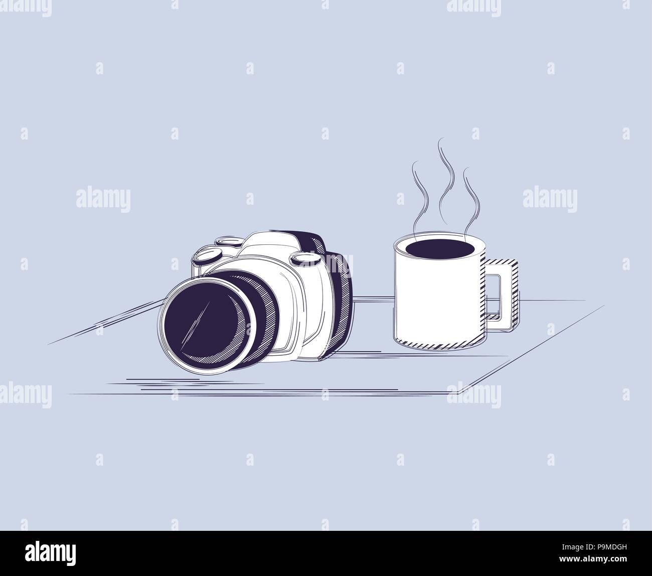 Appareil photographique et tasse à café sur fond bleu, croquis coloré design. vector illustration Illustration de Vecteur