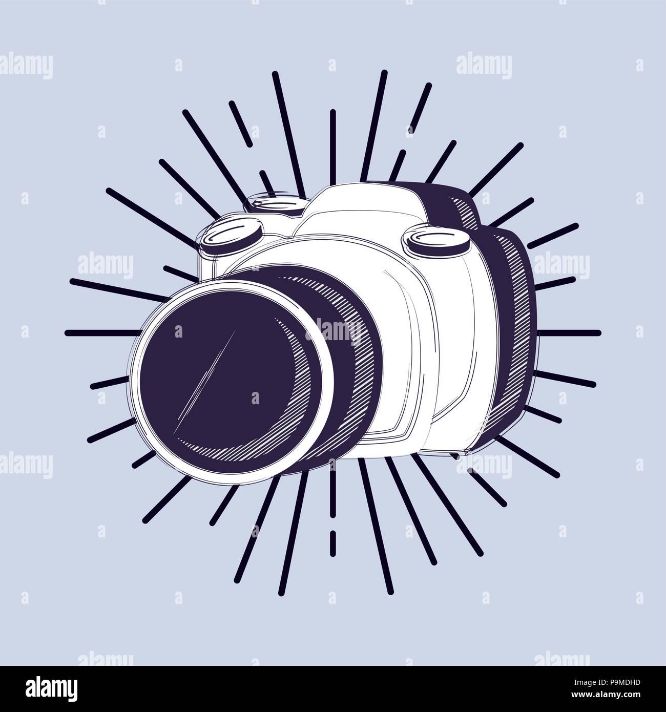 L'icône de caméra photographique sur fond bleu, croquis coloré design. vector illustration Illustration de Vecteur