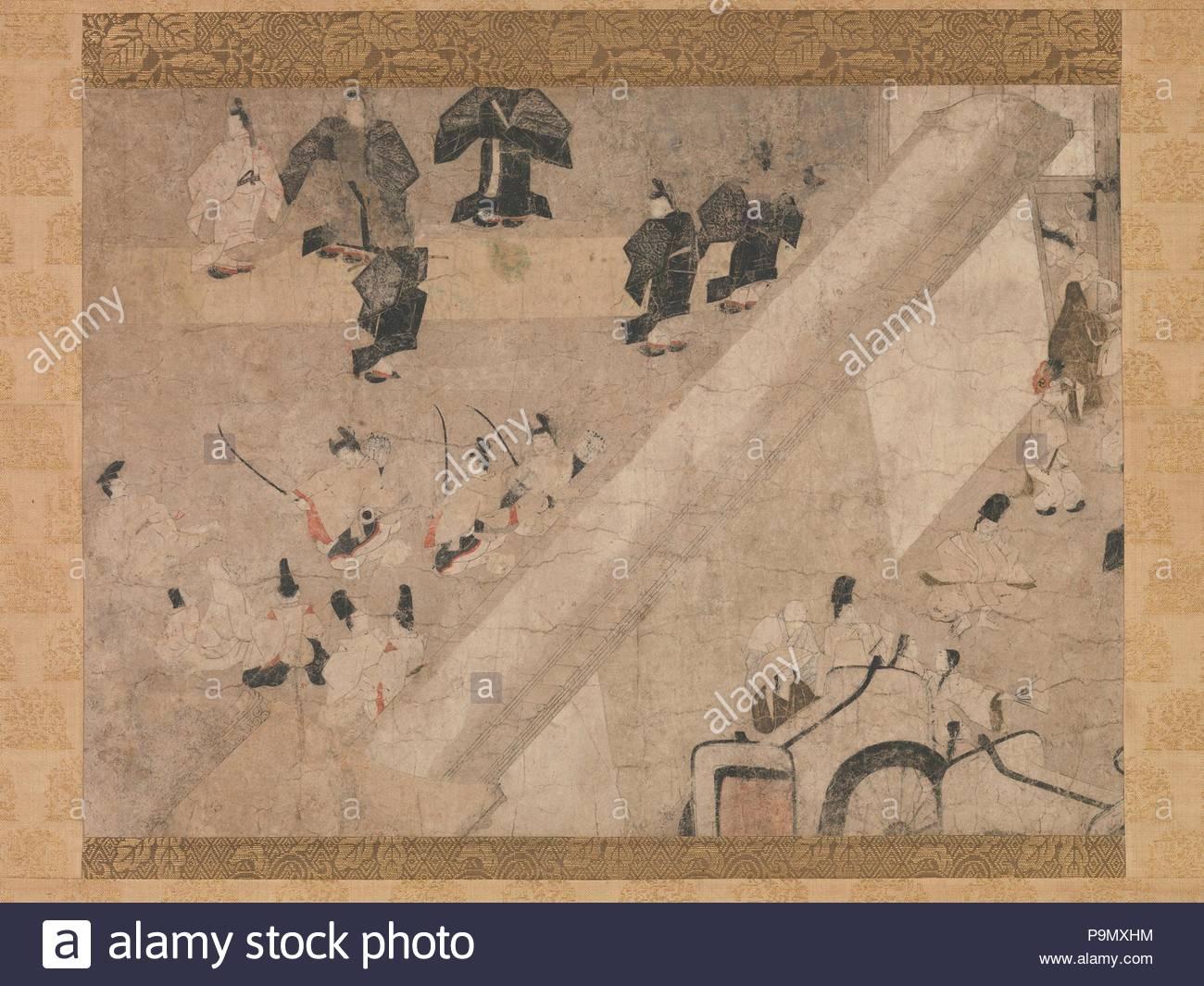 'Visite impériale à la Grande Course de chevaux au Kaya-no-in Mansion' (Kaya-no-dans komakurabe gyoko emaki), de l'histoire de fortune de floraison (Eiga monogatari), de Kamakura (1185-1333), 13e et 14e siècle, le Japon, segment rouleau horizontal monté comme un défilement pendaison; l'encre et couleur sur papier, 12 x 17 7/8 à 13/16. (32,7 x 45,2 cm), peintures, quelques jours à l'automne de 1024 sont le paramètre pour cet épisode de la quasi-historique chronique de la vie de Fujiwara Michinaga (966-1027), la grande époque Heian-court homme politique et mécène. Photo Stock