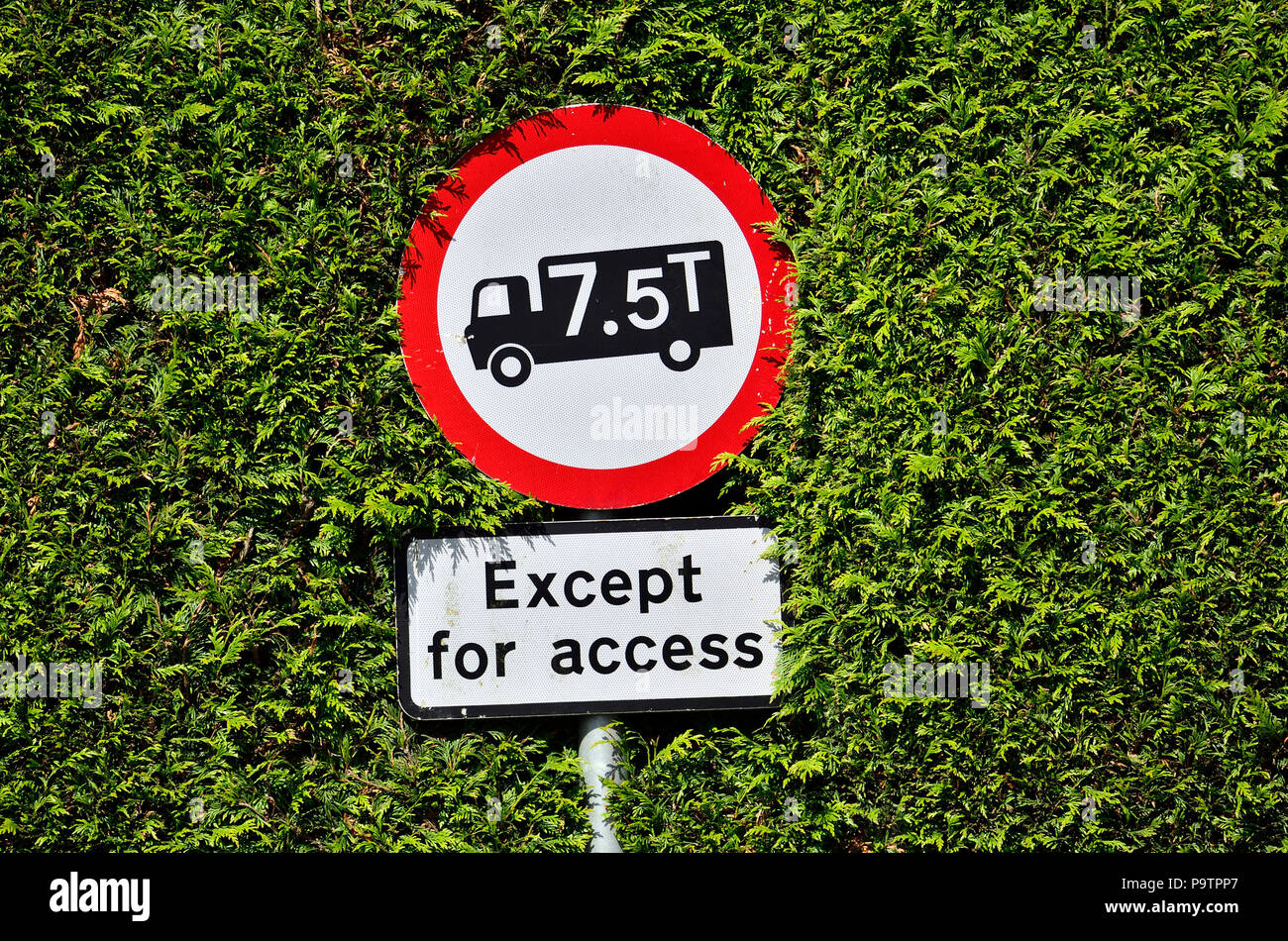 Signe de restriction de poids sur une étroite route de campagne dans le Kent, Angleterre, Royaume-Uni. Photo Stock