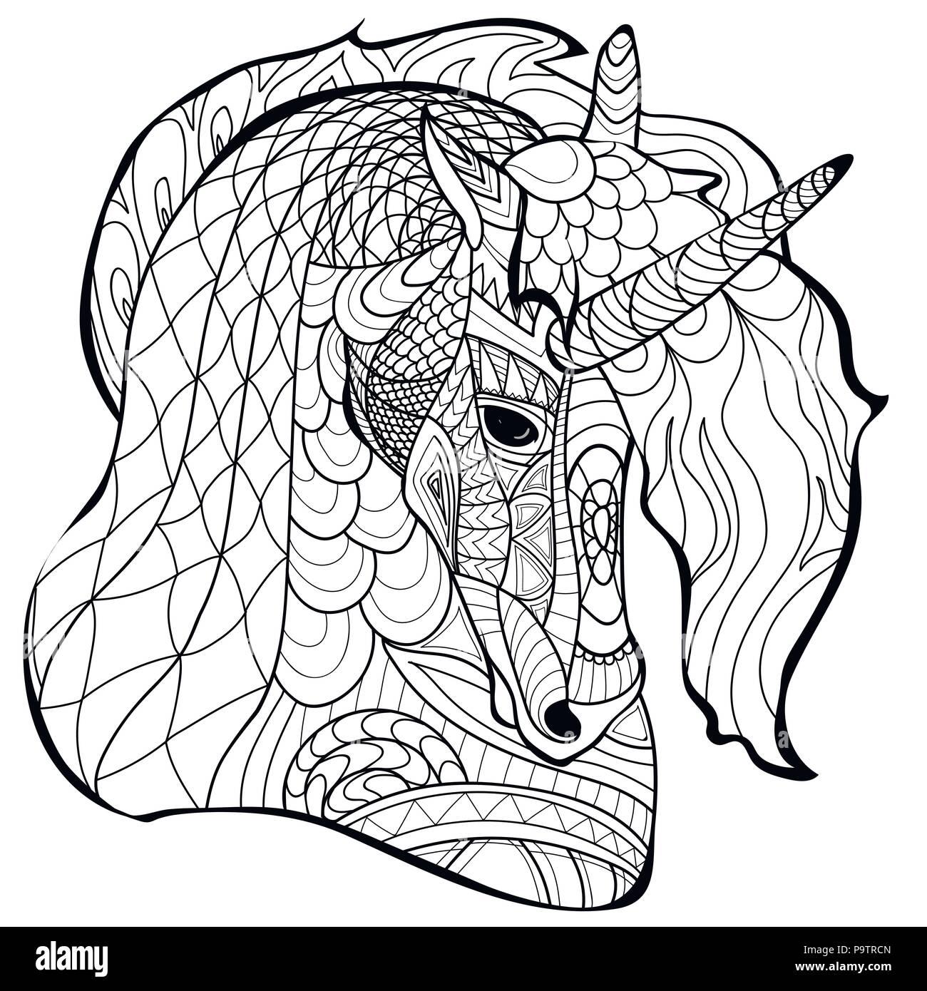 Ligne Unicorn Coloriage Coloring Book Vector Motif