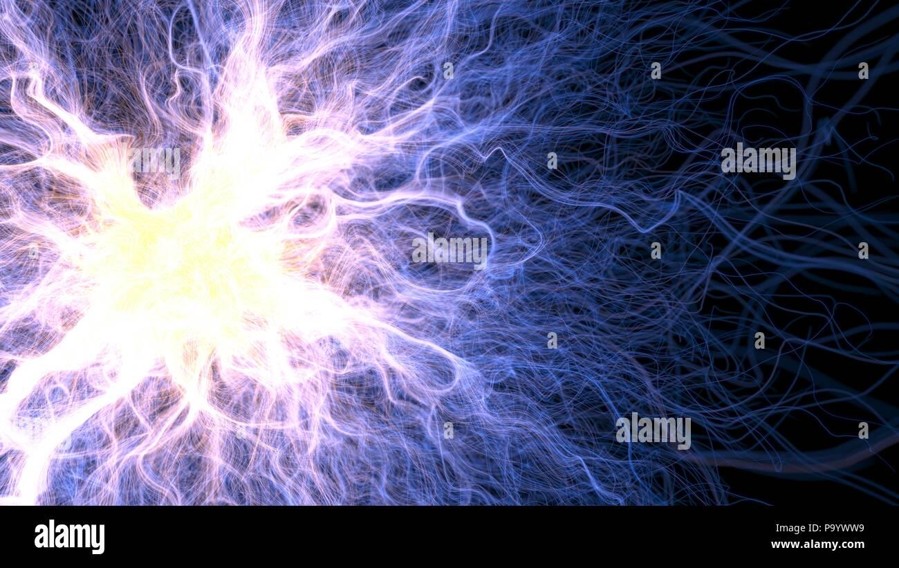 Les lignes d'énergie croissante, 3d illustration avec effet de profondeur de champ. Photo Stock