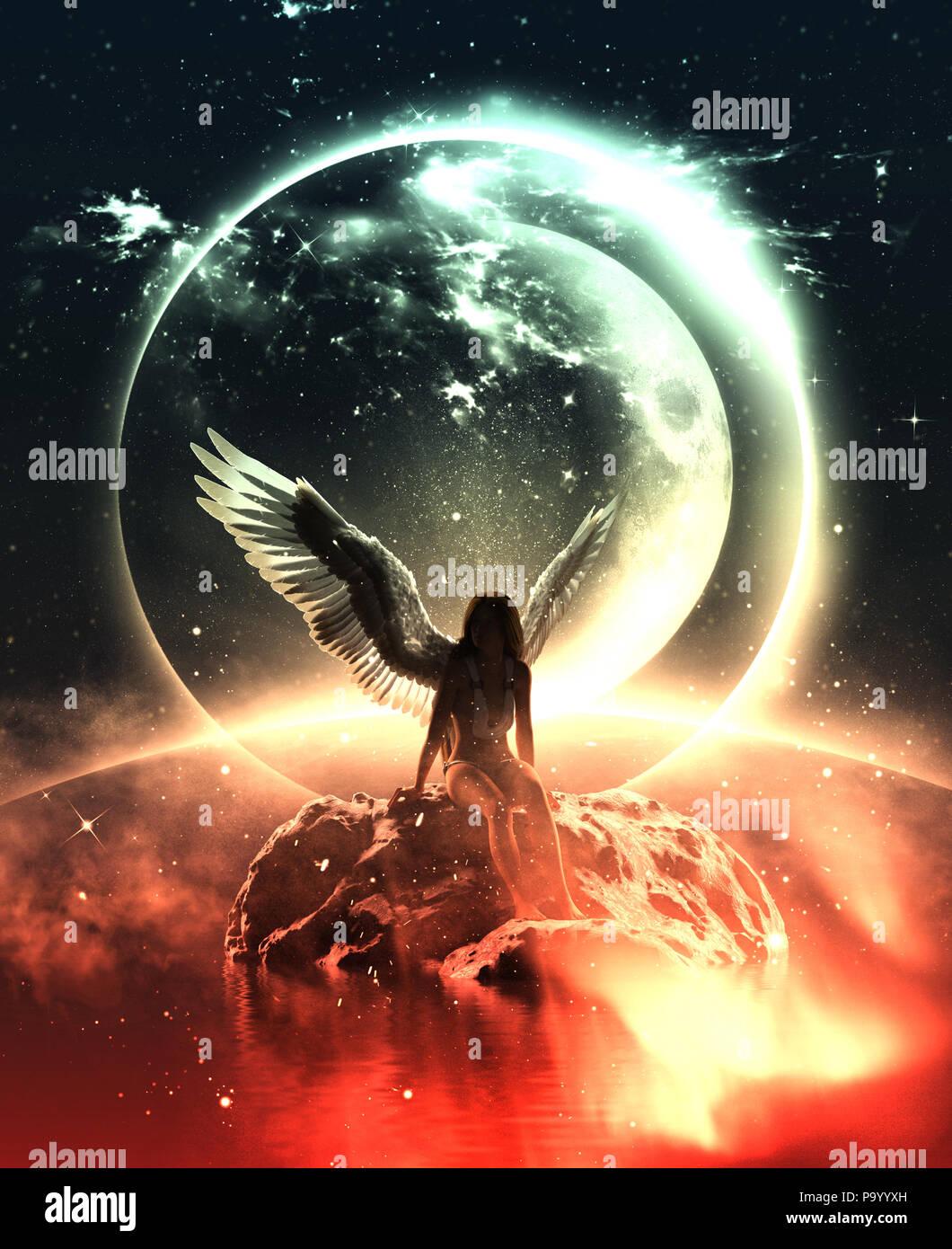 3d illustration d'un Ange dans le ciel la terre,pour l'illustration de livres ou de couverture de livre Photo Stock