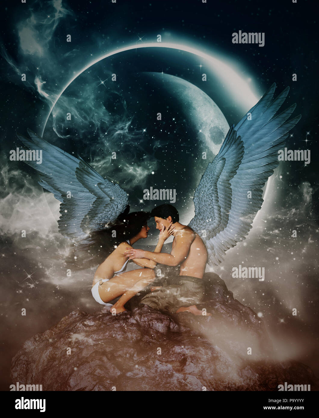 3d illustration d'un anges dans le ciel la terre,pour l'illustration de livres ou de couverture de livre Photo Stock
