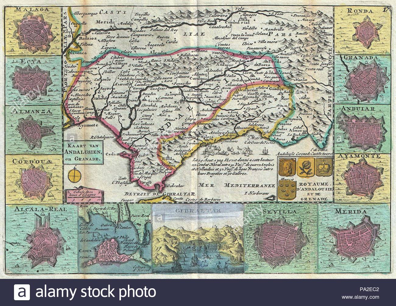 Carte Geographique Andalousie.1747 La Feuille De Carte Andalousie Espagne Sevilla Banque D
