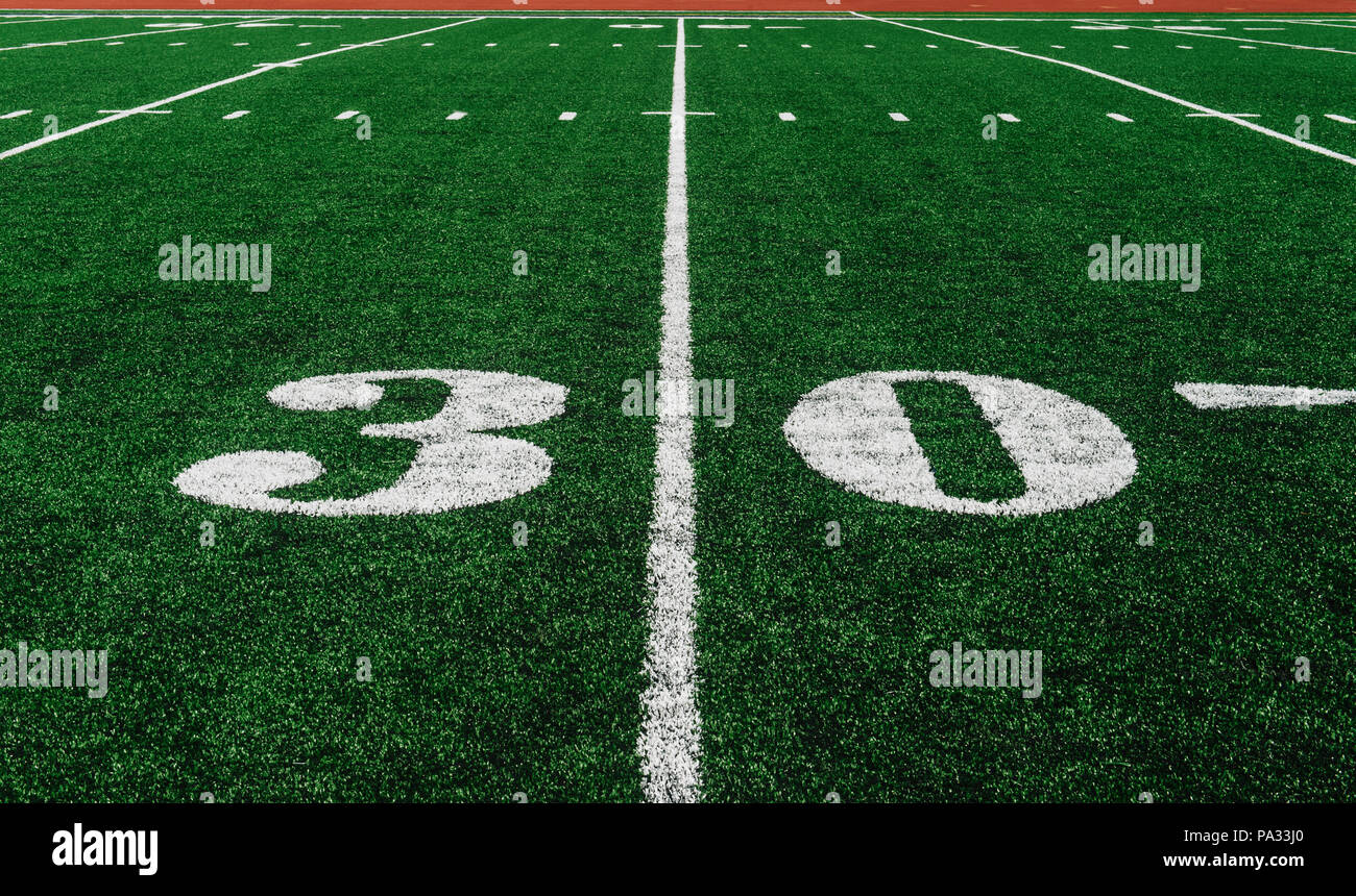 30 Cour Ligne sur American Football Field Photo Stock