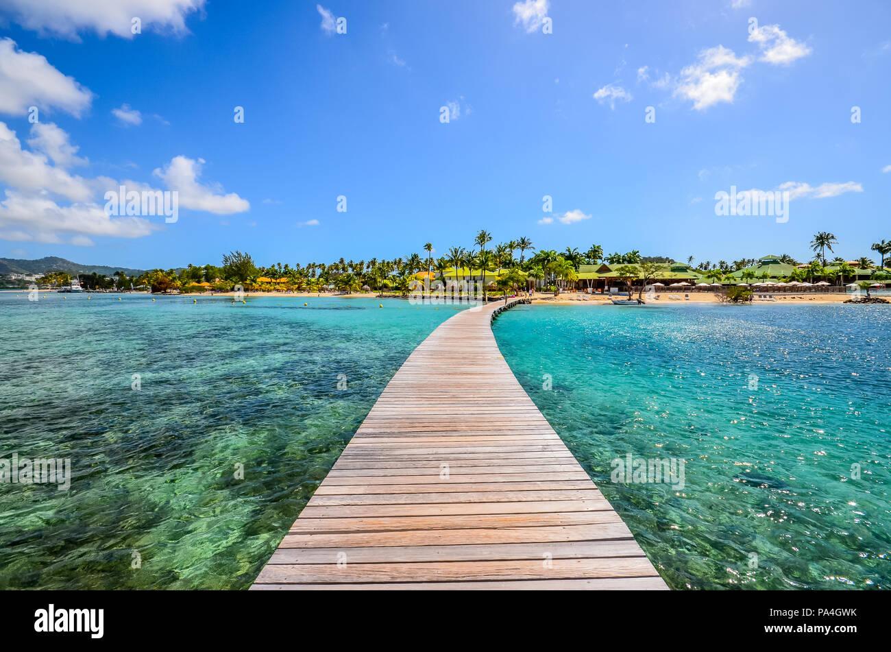 Caraïbes Martinique ponton sur marin bay Photo Stock
