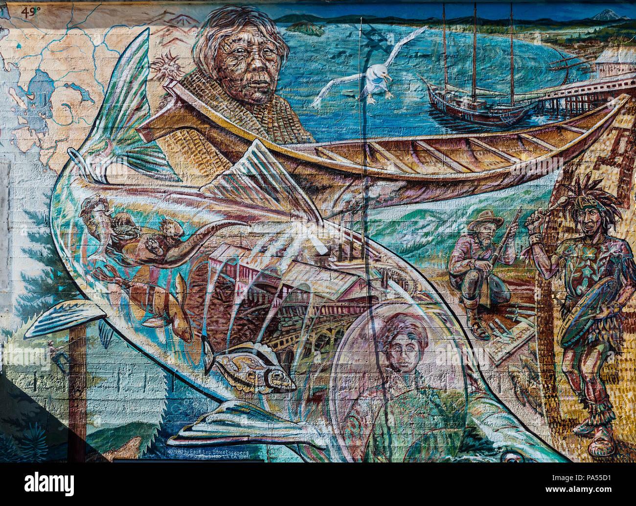 Fresque murale représentant la culture américaine indigène locale, Bellingham, Washington State, USA. Photo Stock