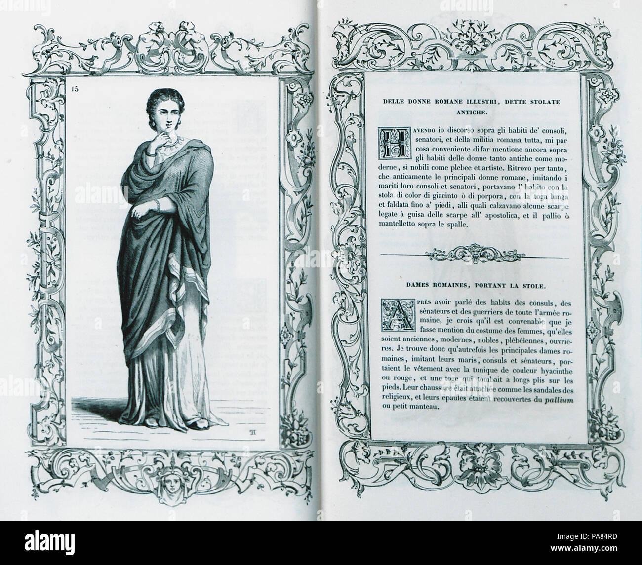 61 Delle donne romane illustri, stolate sådanne antiche - Cesare Vecellio - 1860 Photo Stock