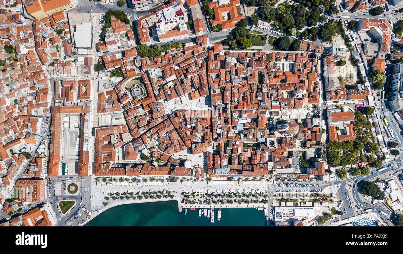 Vue aérienne de vieux Split, le centre historique de Split, Croatie Photo Stock