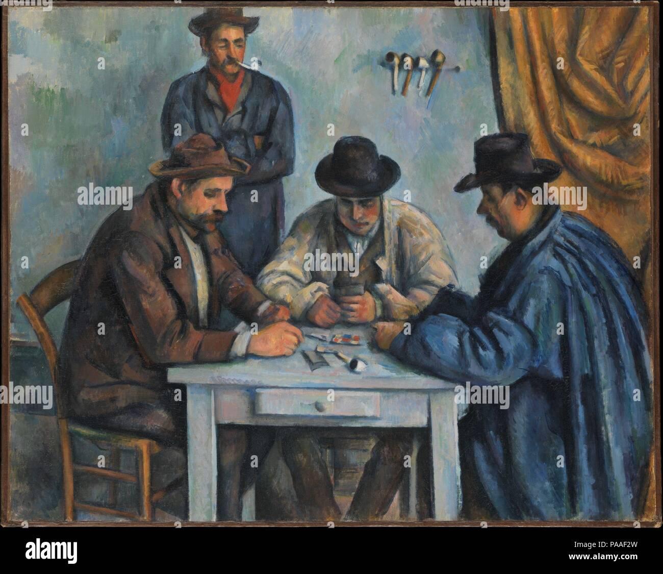 Les joueurs de cartes. Artiste: Paul Cézanne (Français, Aix-en-Provence 1839-1906 Aix-en-Provence). Dimensions: 25 3/4 x 32 1/4 in. (65,4 x 81,9 cm). Date: 1890-92. C'est probablement la première d'une série de cinq tableaux que Cézanne consacré aux paysans les cartes à jouer. À l'enrôlement d'ouvriers agricoles locaux pour servir de modèles, il a peut-être inspiré pour sa scène de genre d'une peinture du 17e siècle par les frères Le Nain dans le musée dans sa ville natale d'Aix. Le Metropolitan's photo a été suivi d'une version deux fois sa taille, qui comprend une autre figure d'un enfant debout à droite (Barne Banque D'Images