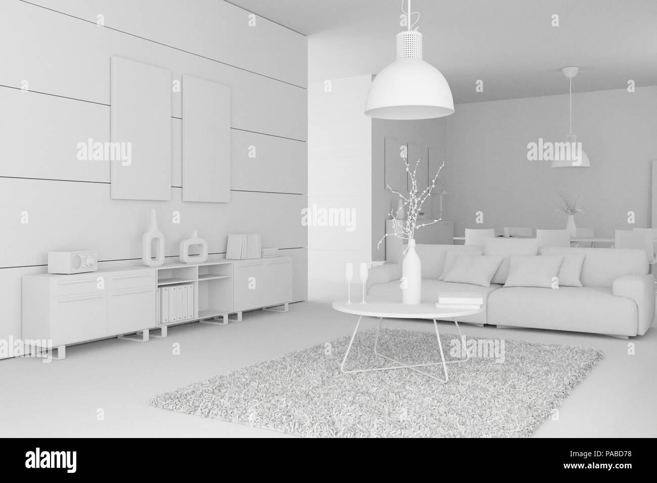 Modèle de design intérieur moderne salle de séjour Banque D ...