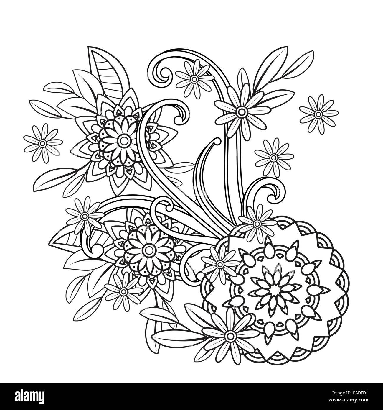 Des Profils Coloriage Avec Motif Fleurs Doodle Noir Et Blanc Floral Mandala Vector Illustration Art Ligne Bouquet Isole Sur Fond Blanc Image Vectorielle Stock Alamy