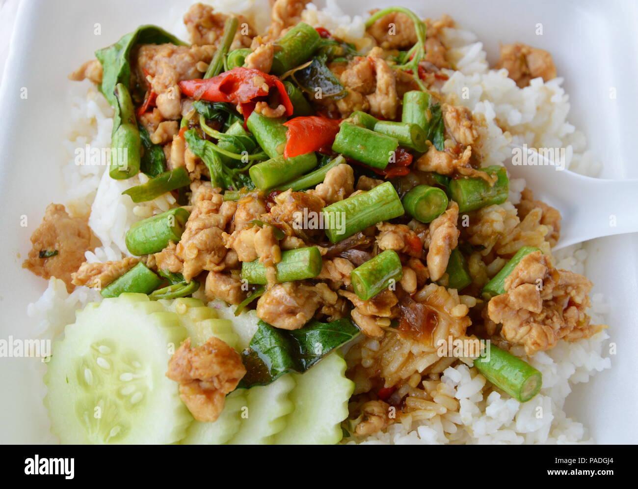Épicé de poulet sauté avec feuille de basilic sur le riz en boîte de mousse pour prendre accueil Banque D'Images