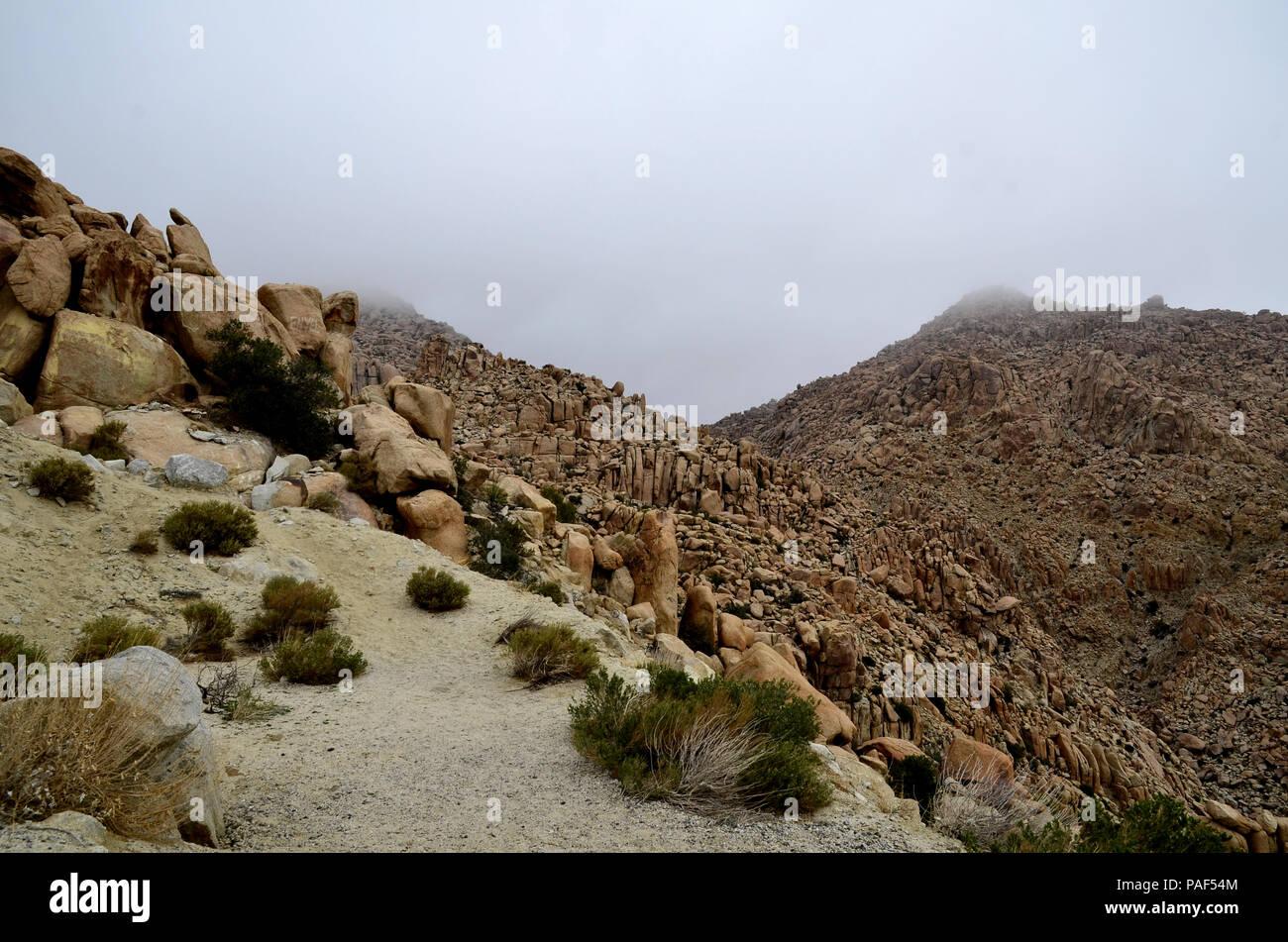 Vue de la pente rocheuse sur l'Autoroute Près de Tijuana-Mexicali dans La Rumorosa, Baja California, Mexique. Banque D'Images