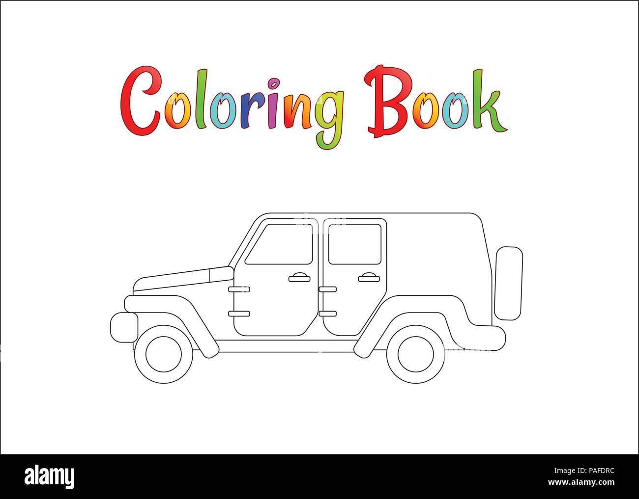 Safari Jeep Wrangler. Pages à colorier pour les enfants illustration vecteur EPS 10. Illustration de Vecteur