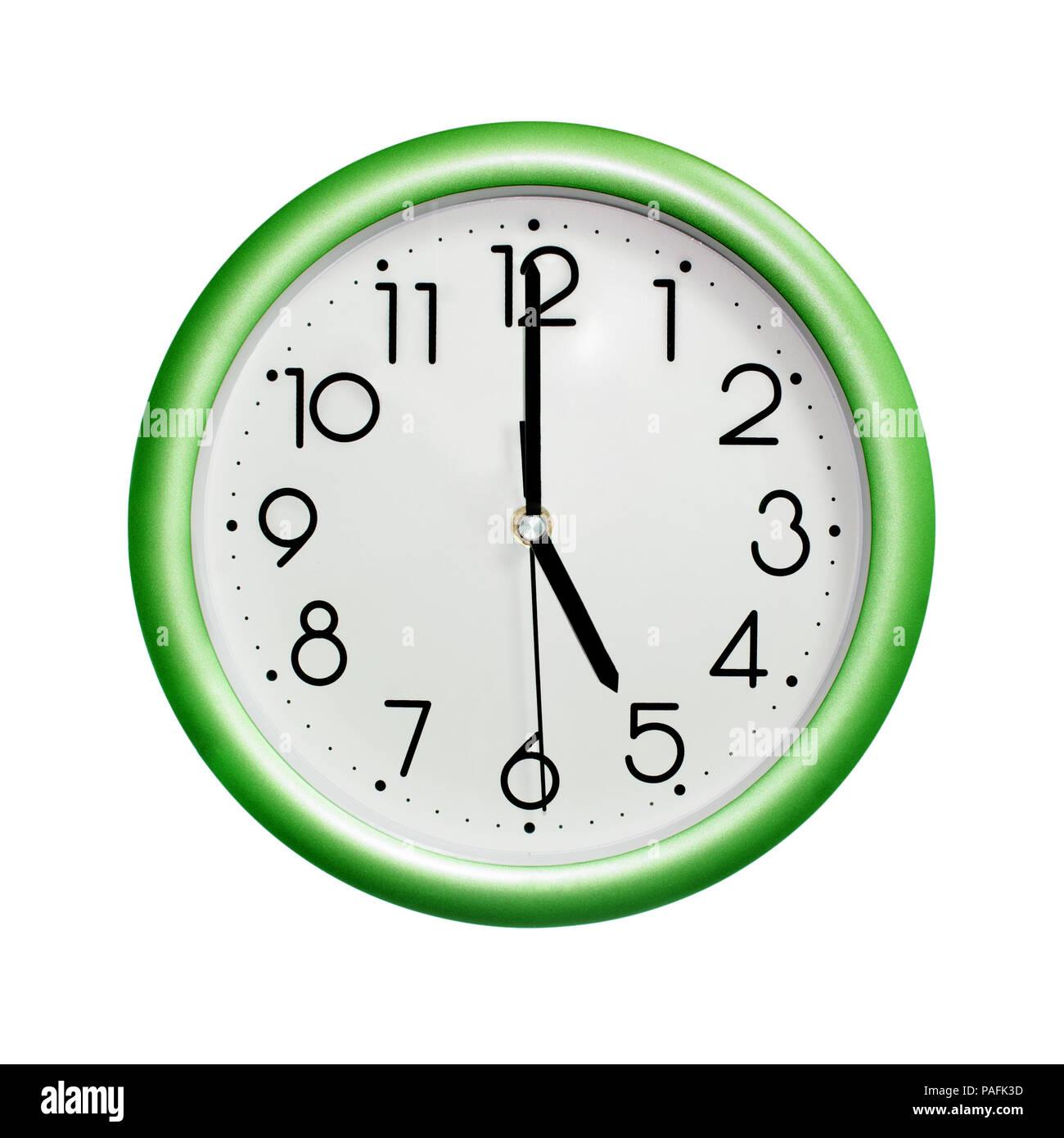 5 heures cercle photo horloge murale vert sur fond blanc. Black Bedroom Furniture Sets. Home Design Ideas