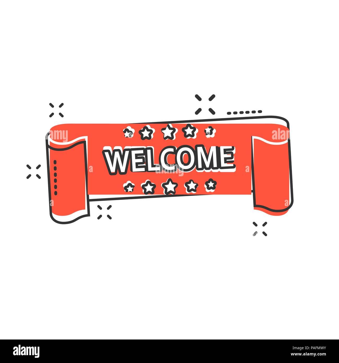 Vector Cartoon Bienvenue Icône Ruban Dans Le Style Comique