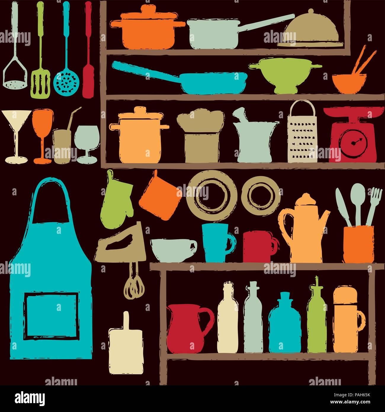 Divers cuisine colorée icônes silhouette sur des étagères. Illustration de Vecteur