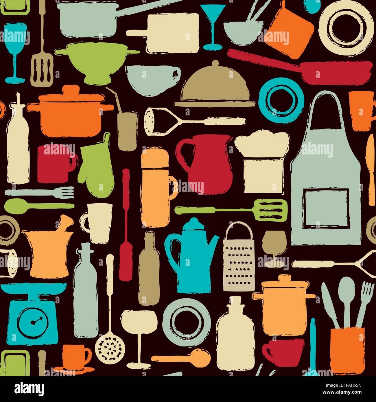 Motif de fond transparente colorée avec cuisine d'ossature d'icônes. Illustration de Vecteur