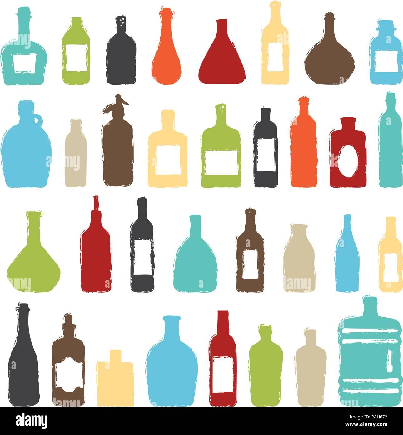 Diverses bouteilles coloré vecteur silhouette icons set. Illustration de Vecteur