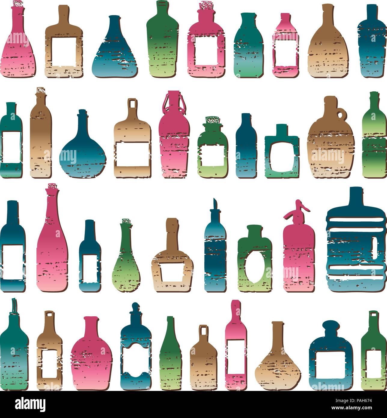 En forme de diverses bouteilles rayé vintage vector set. Illustration de Vecteur
