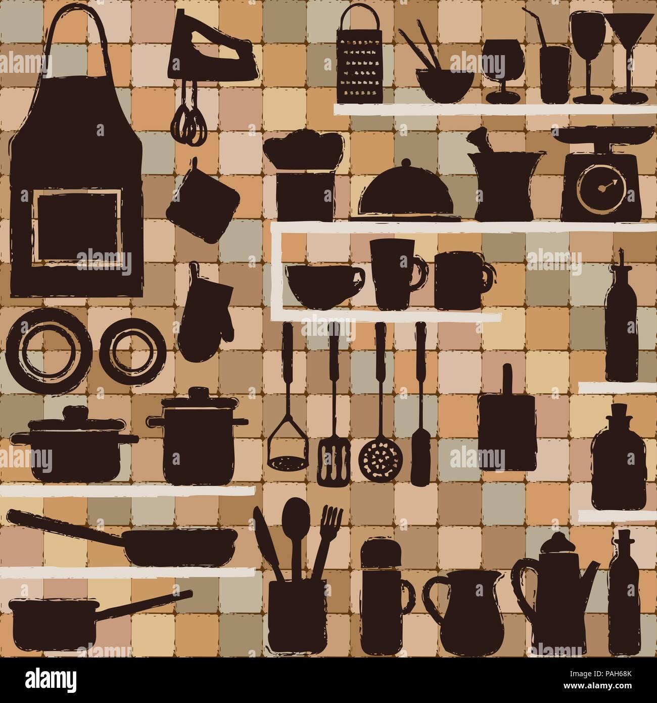 Cuisine Vintage icônes silhouette sur fond de carrelage. Illustration de Vecteur