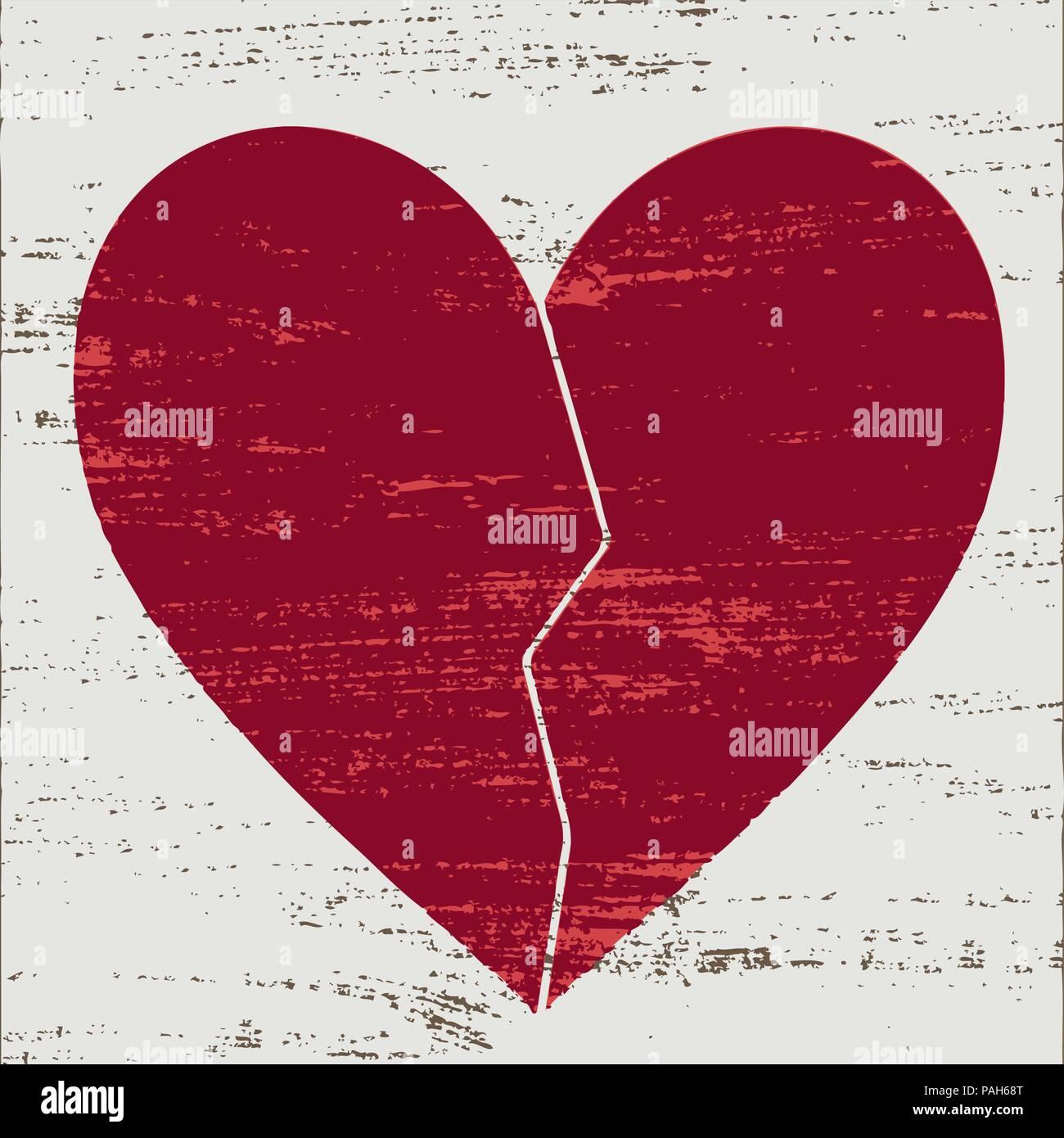 Vintage red cœur brisé sur fond rayé blanc. Illustration de Vecteur