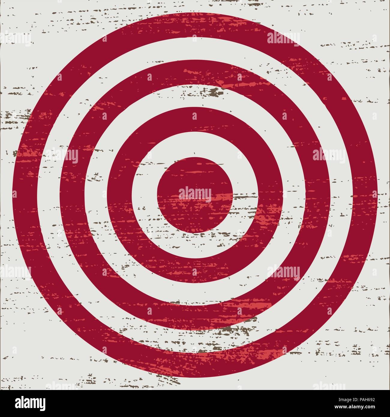 Vintage cible rouge sur fond rayé blanc. Illustration de Vecteur