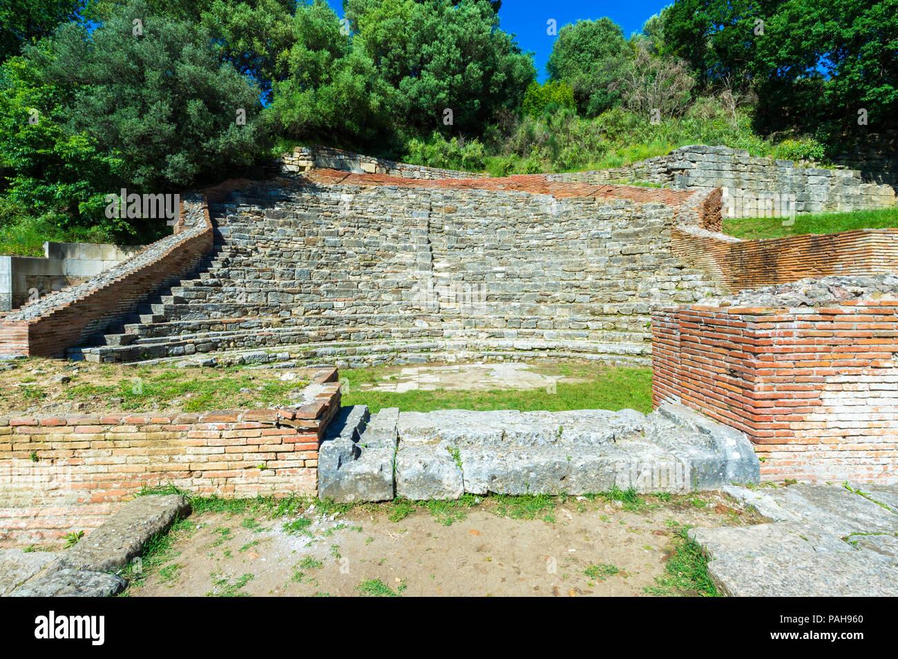 Théâtre de l'Odéon, Parc archéologique d'Apollonia, l'Illyrie, Village Pojani, Albanie Photo Stock