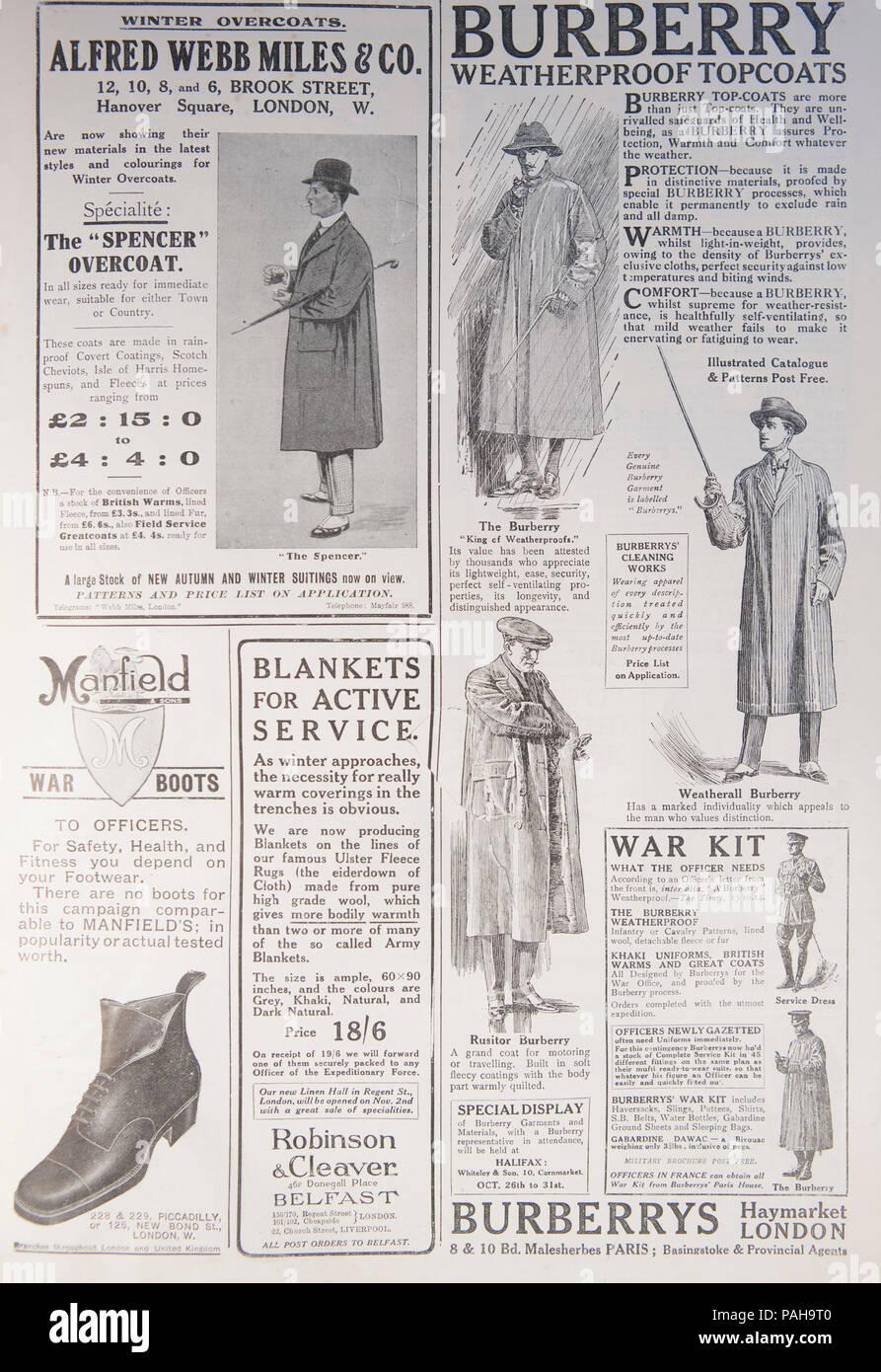 e7f1aa11c0a Burberry et autres vêtements annonces. À partir d un vieux magazine au  cours de