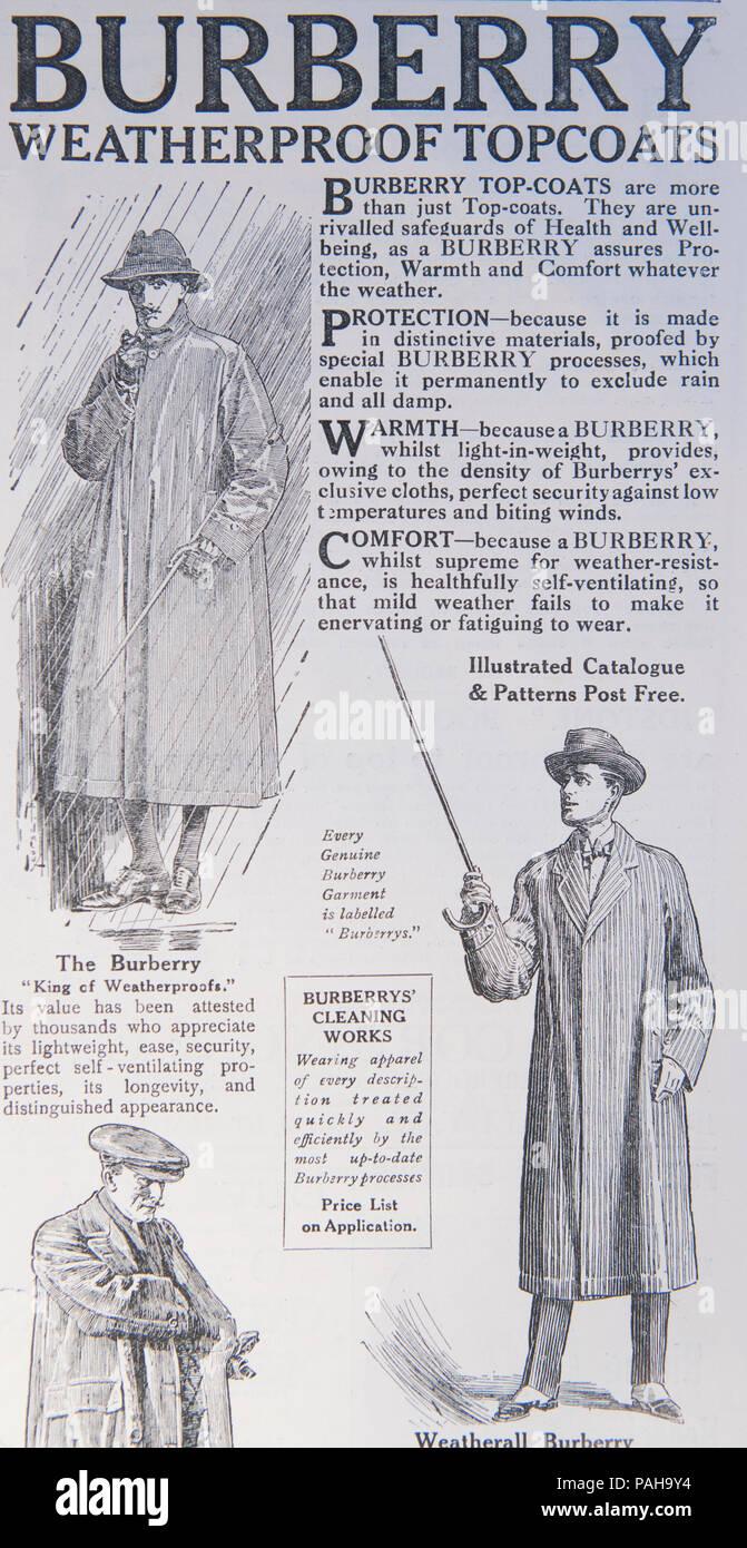 Finition imperméable Burberry annonce. À partir d un vieux magazine au cours  de la 2adf607a97e