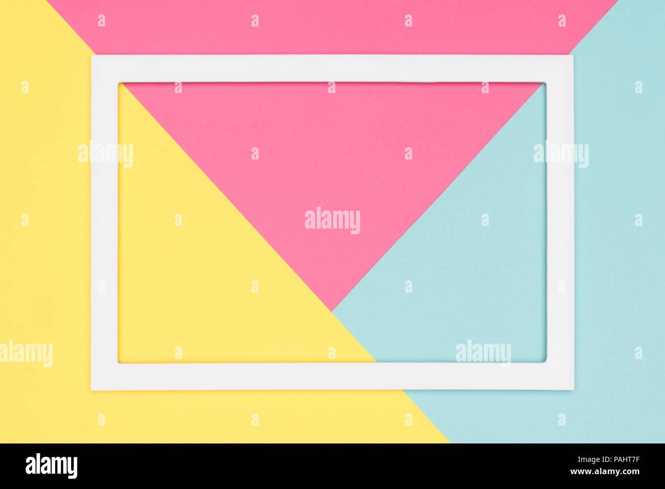 Image Pour Mettre Dans Un Cadre géométrique abstrait bleu pastel, rose et jaune, le papier à