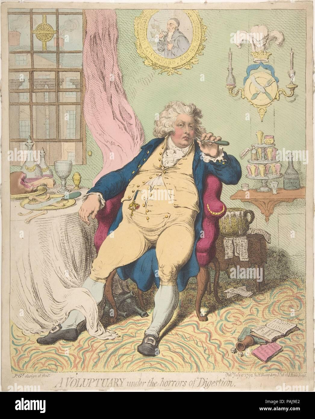 Un Voluptuary sous les horreurs de la digestion. Artiste: James Gillray (britannique, Chelsea 1756-1815 Londres). Fiche technique: Dimensions: 14 3/8 x 11 9/16 in. (36,5 x 29,3 cm). Editeur: Hannah Humphrey (Londres). Date: 2 juillet 1792. Gillray's brutal célèbre caricature de George, Prince de Galles encapsule les effets de l'auto-indulgence non contrôlée sur l'héritier du trône britannique. Étendu dans son fauteuil après un copieux repas, le prince choisit ses dents avec une fourchette à viande; son manque d'honneur est souligné par le pot de chambre qui coule à son coude utilisée pour fixer les factures impayées. À seulement 30 ans, Banque D'Images