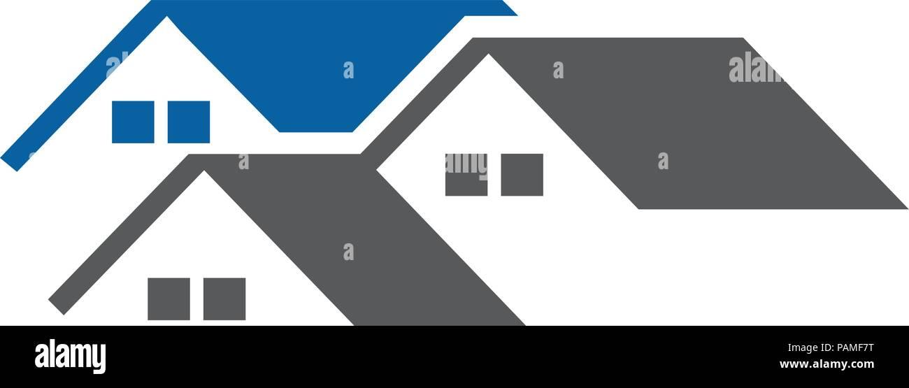 Maison moderne et créatif et de l\'immobilier avec toiture concept ...