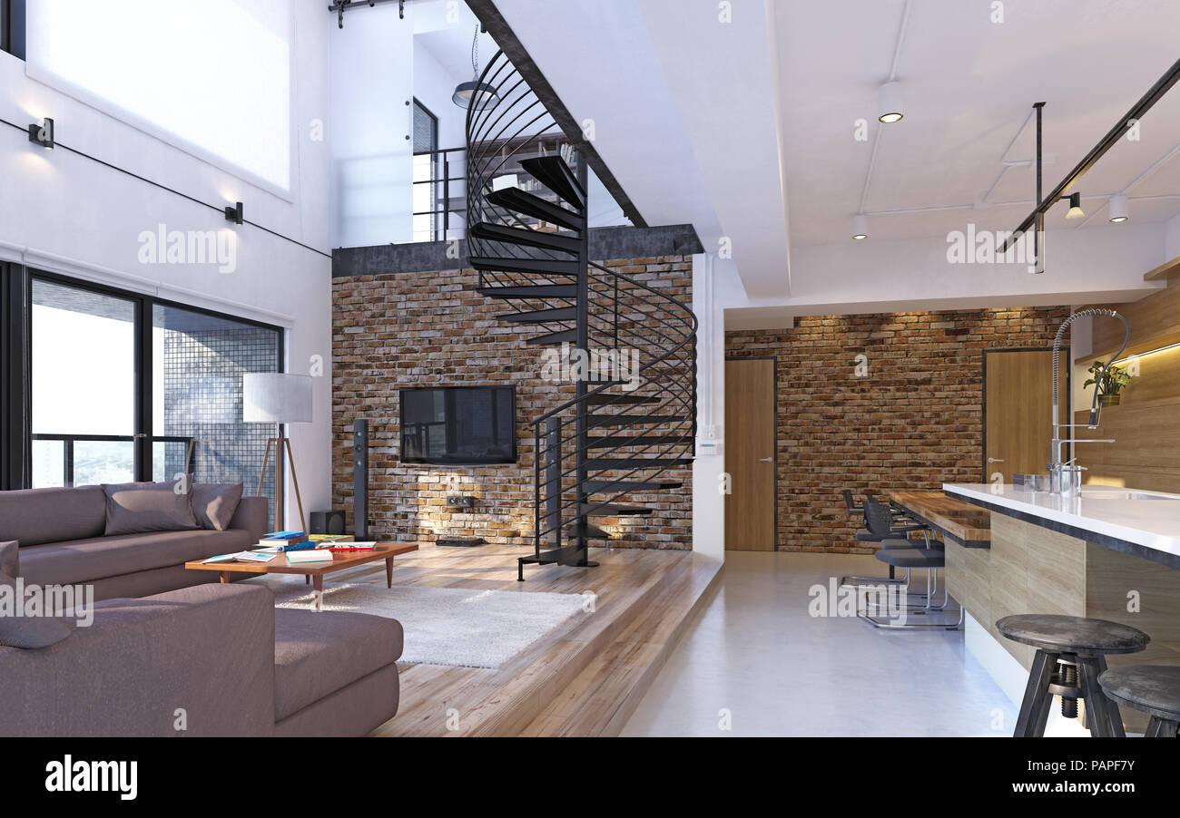 Appartement loft moderne de luxe intérieur concept de rendu d
