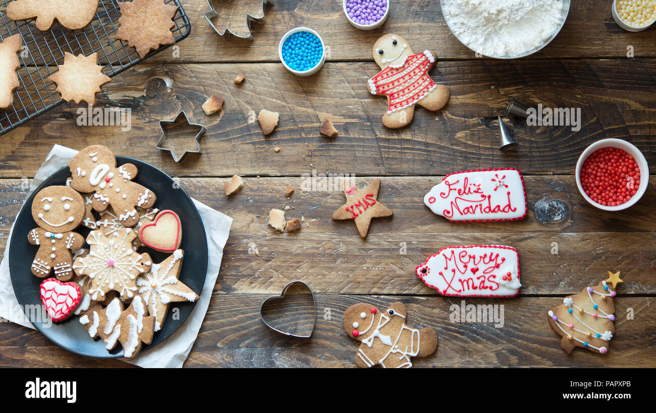 Gingerbread cookies faits maison Banque D'Images