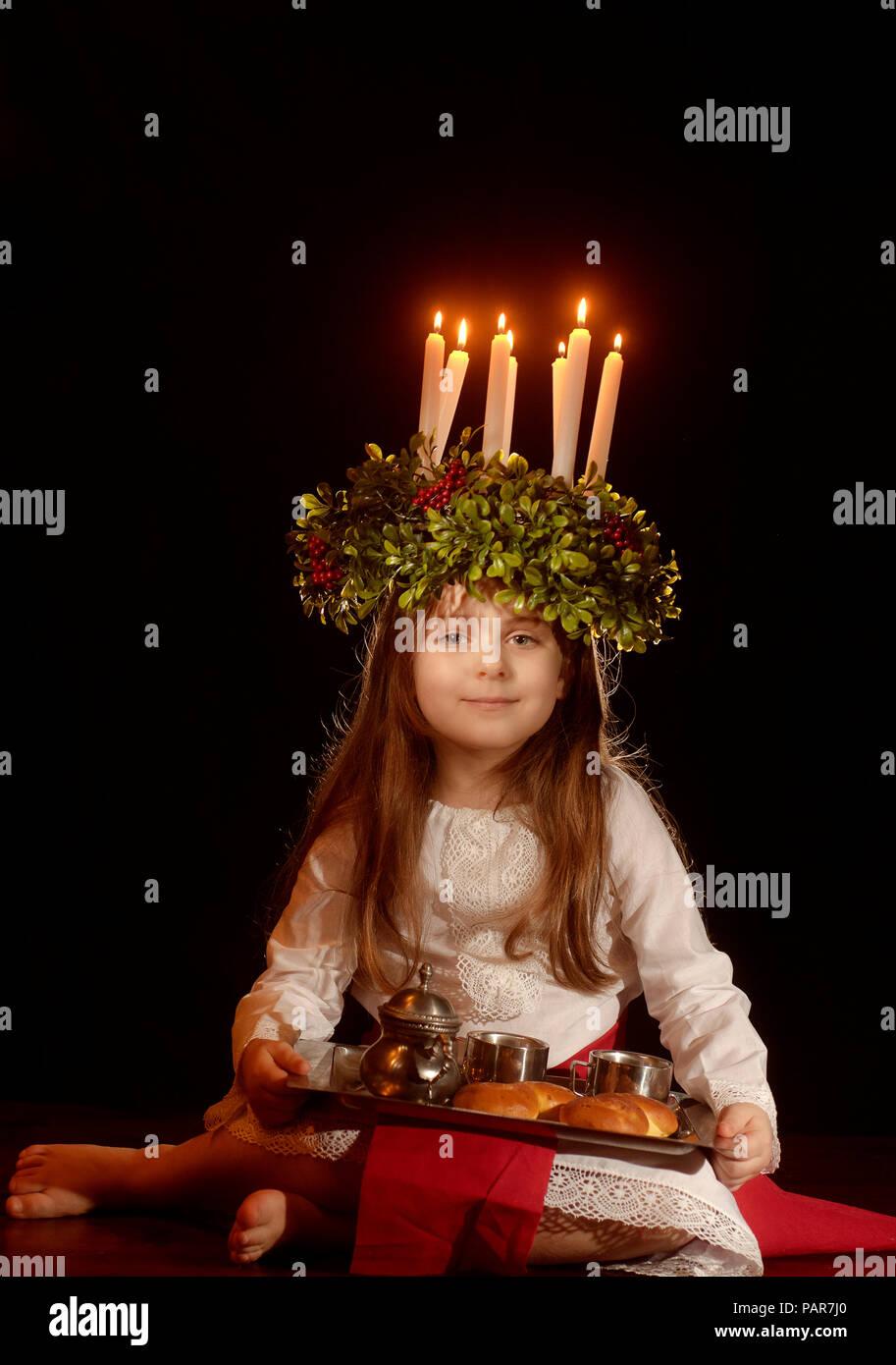 Peu caucasian girl costume à Sainte-Lucie Banque D'Images