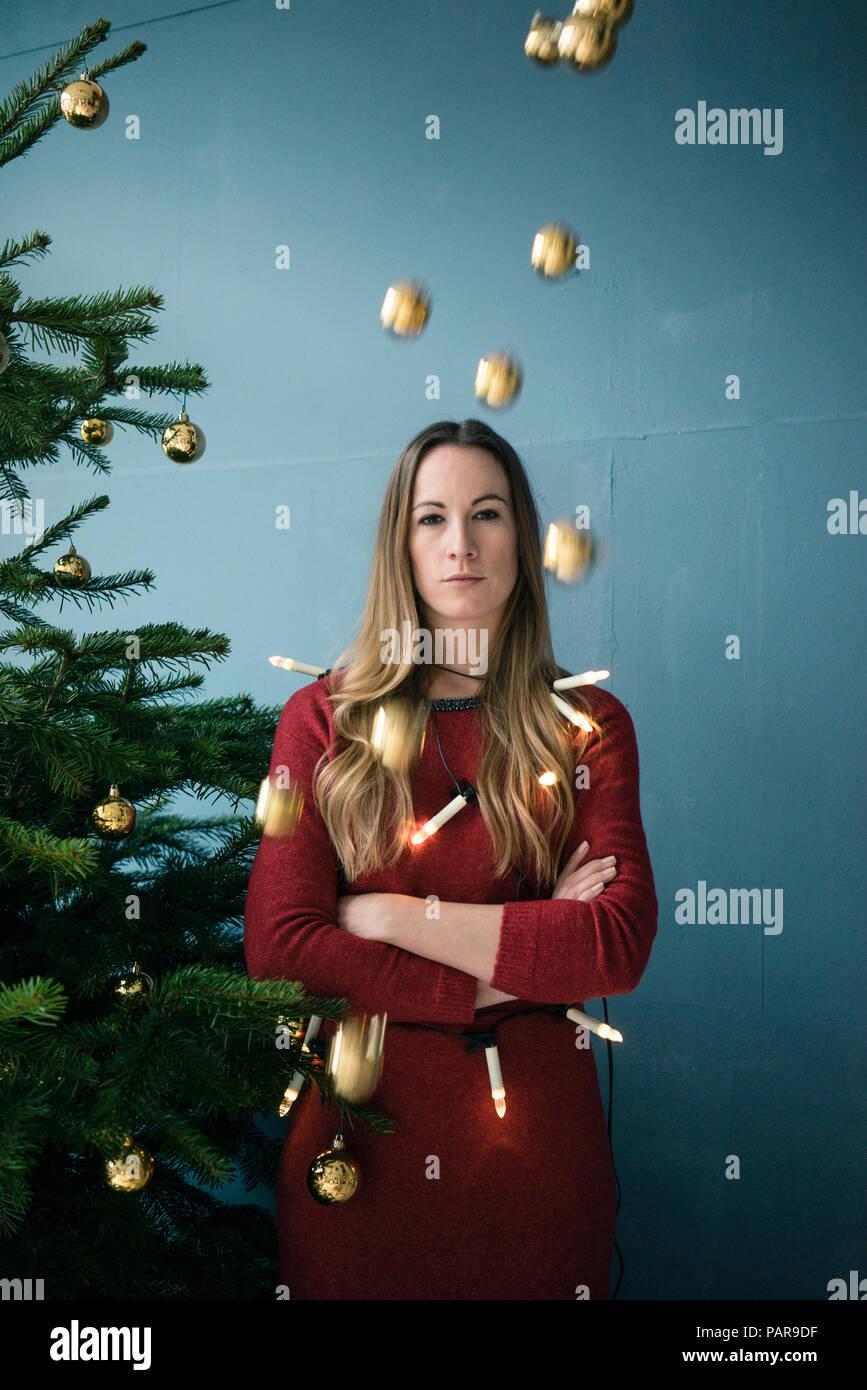 Portrait de femme ennuyé à l'époque de Noël Photo Stock
