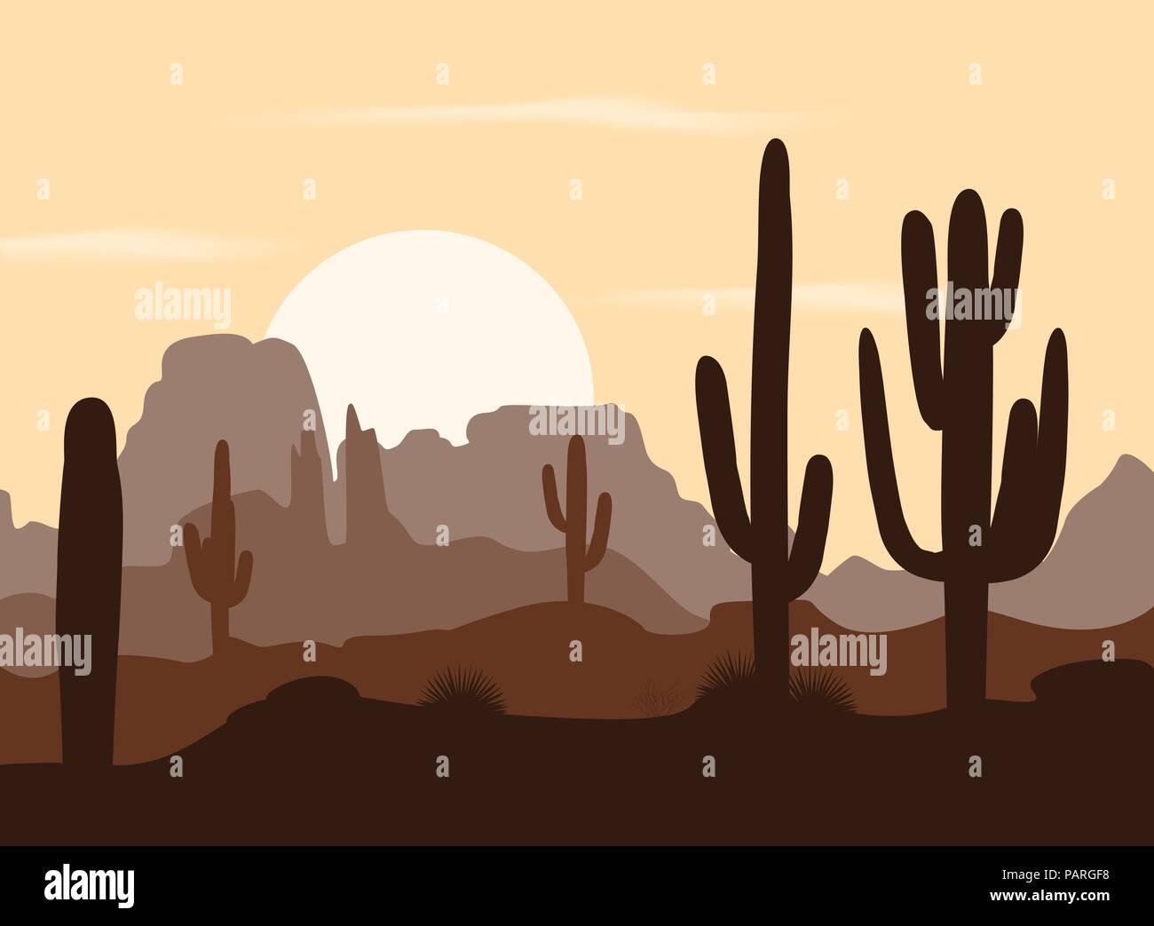 Matin paysage avec cactus Saguaro et les montagnes. Vector illustration. Palette brun mignon Illustration de Vecteur