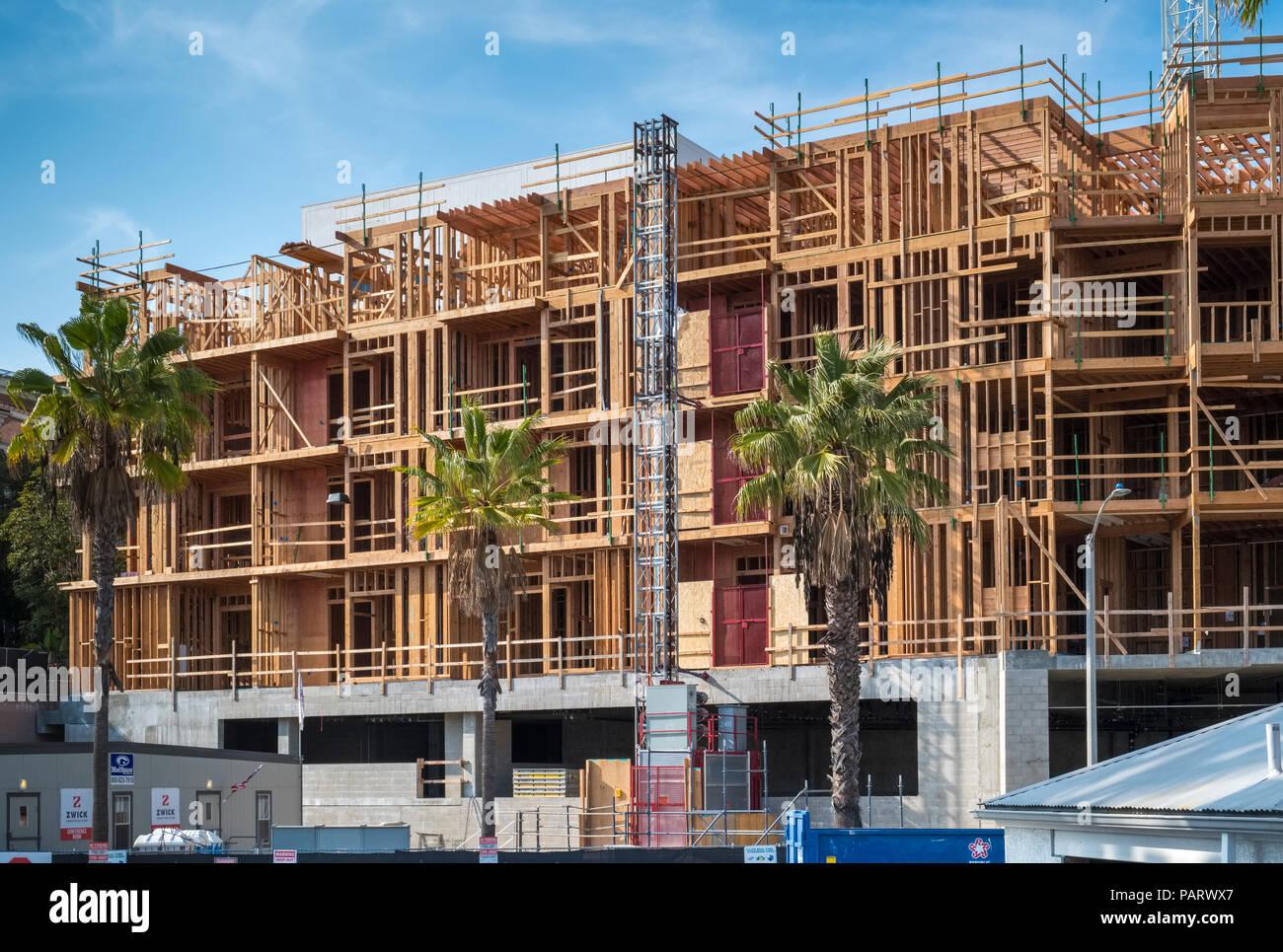 Site de construction d'appartements dans la, Los Angeles, Californie, USA Photo Stock